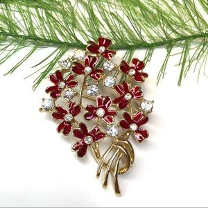 Vintage floral red and gold tone brooch pin